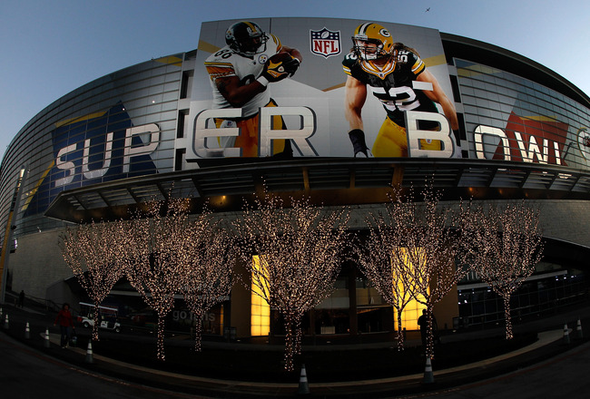 ARLINGTON, TX - JANUARY 30:  The outside of Cowboys Stadium on January 30, 2011 in Arlington, Texas. Cowboys Stadium will host Super Bowl XLV on February 6, 2011 between the Pittsburgh Steelers and the Green Bay Packers in Arlington, Texas.  (Photo by Tom