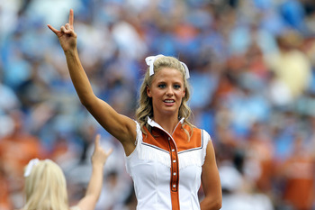 AUSTIN, TX - SEPTEMBER 25:  A Texas Longhorns cheerleader at Darrell K Royal-Texas Memorial Stadium on September 25, 2010 in Austin, Texas.  (Photo by Ronald Martinez/Getty Images)