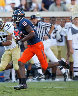 ATLANTA - OCTOBER 09:  Dontrelle Inman #81 of the Virginia Cavaliers against the Georgia Tech Yellow Jackets at Bobby Dodd Stadium on October 9, 2010 in Atlanta, Georgia.  (Photo by Kevin C. Cox/Getty Images)