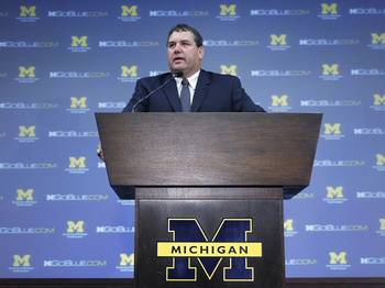 ANN ARBOR, MI - JANUARY 12:  New University of Michigan head football coach Brady Hoke speaks during his introductory press confrence at the Junge Family Champions Center on January 12, 2011 in Ann Arbor, Michigan.  (Photo by Gregory Shamus/Getty Images)