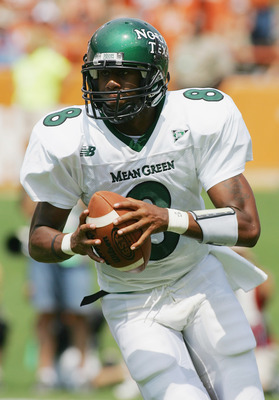AUSTIN, TX - SEPTEMBER 2:  Quarterback Woody Wilson #8 of the North Texas Eagles looks to move the ball against the Texas Longhorns on September 2, 2006 at Texas Memorial Stadium in Austin, Texas. The Longhorns defeated the Eagles 56-7. (Photo by Ronald M