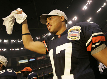 NEW ORLEANS - JANUARY 03:  Quarterback Jason Campbell #17 of the Auburn Tigers celebrates after defeating the Virginia Tech Hokies by a score of 16-13 during the Nokia Sugar Bowl on January 3, 2005 at the Superdome in New Orleans, Louisiana.  (Photo by Ch