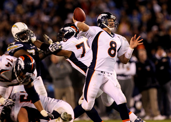 SAN DIEGO - NOVEMBER 22:  Quarterback Kyle Orton #8 of the Denver Broncos throws a fourth quarter touchdown pass against the San Diego Chargers at Qualcomm Stadium on November 22, 2010 in San Diego, California.  (Photo by Stephen Dunn/Getty Images)