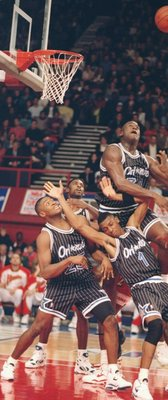 Oct 1993:  Center Shaquille O''Neal of the Orlando Magic leaps up for the ball during a game against the Atlanta Hawks at Wembley Stadium in London, England. Mandatory Credit: Mike Cooper  /Allsport