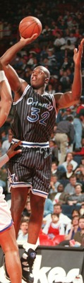 4 NOV 1994:  SHAQUILLE O''NEAL OF THE ORLANDO MAGIC GOES UP FOR A SHOT DURING A 110-108  LOSS TO THE WASHINGTON BULLETS IN ORLANDO, FLORIDA.     Mandatory Credit: ALLSPORT