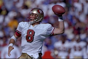4 Oct 1998:  Quarterback Steve Young #8 of the San Francisco 49ers in action during the game against the Buffalo Bills at the Bills Stadium in Orchard Park, New York. The Bills defeated the 49ers 26-21. Mandatory Credit: Rick Stewart  /Allsport