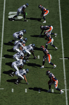 DENVER - SEPTEMBER 19:  A general view of the field as the Seattle Seahawks offense takes on the Denver Broncos defense at INVESCO Field at Mile High on September 19, 2010 in Denver, Colorado. The Broncos defeated the Seahawks 31-14.  (Photo by Doug Pensi
