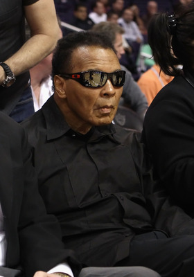PHOENIX - DECEMBER 23:  Muhammad Ali attends the NBA game between the Miami Heat and the Phoenix Suns at US Airways Center on December 23, 2010 in Phoenix, Arizona.  The Heat defeated the Suns 95-83.  NOTE TO USER: User expressly acknowledges and agrees t