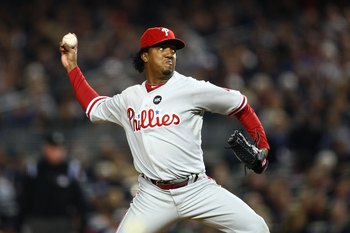 NEW YORK - OCTOBER 29:  Starting pitcher Pedro Martinez #45 of the Philadelphia Phillies pitches against the New York Yankees in Game Two of the 2009 MLB World Series against at Yankee Stadium on October 29, 2009 in the Bronx borough of New York City.  (P