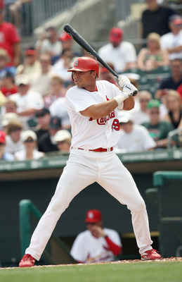 JUPITER, FL - MARCH 14:  Rick Ankiel #49 of the St. Louis Cardinals stands at bat against the Washington Nationals on March 14, 2007 at Roger Dean Stadium in Jupiter, Florida. The Nationals and Cardinals finished in a tie game in the 10th inning 2-2. (Pho