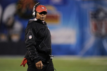SAN DIEGO, CA - DECEMBER 16:  Head coach Mike Singletary of the San Francisco 49ers stands on the field during their game against the San Diego Chargers at Qualcomm Stadium on December 16, 2010 in San Diego, California.  (Photo by Harry How/Getty Images)