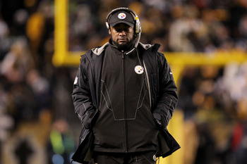 PITTSBURGH, PA - JANUARY 23:  Head coach Mike Tomlin of the Pittsburgh Steelers looks on against the New York Jets during the 2011 AFC Championship game at Heinz Field on January 23, 2011 in Pittsburgh, Pennsylvania.  (Photo by Ronald Martinez/Getty Image