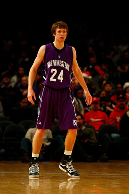 NEW YORK, NY - DECEMBER 20:  John Shurna #24 of the Northwestern Wildcats looks on against the St. Francis Terriers during the Madison Square Garden Holiday Festival at Madison Square Garden on December 20, 2010 in New York City.  (Photo by Chris Chambers