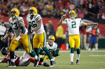 ATLANTA, GA - JANUARY 15:  Mason Crosby #2 of the Green Bay Packers watches his kick attempt against the Atlanta Falcons during their 2011 NFC divisional playoff game at Georgia Dome on January 15, 2011 in Atlanta, Georgia.  (Photo by Kevin C. Cox/Getty I