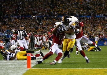James Harrison makes it into the endzone for a Super Bowl record 100 yard interception return