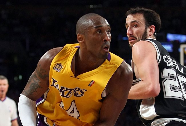 LOS ANGELES, CA - MAY 21:  Kobe Bryant #24 of the Los Angeles Lakers makes a move on Manu Ginobili #20 of the San Antonio Spurs in Game One of the Western Conference Finals during the 2008 NBA Playoffs on May 21, 2008 at Staples Center in Los Angeles, Cal