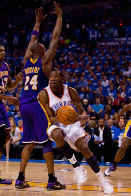 OKLAHOMA CITY - APRIL 22: Kevin Durant #35 of the Oklahoma City Thunder drives to the basket against Kobe Bryant #24 of the Los Angeles Lakers during Game Three of the Western Conference Quarterfinals of the 2010 NBA Playoffs on April 22, 2010 at the Ford