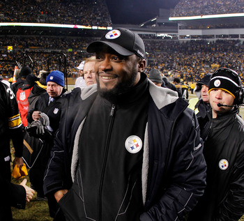PITTSBURGH, PA - JANUARY 23:  Head coach Mike Tomlin of the Pittsburgh Steelers celebrates after the Steelers defeated the New York Jets 24 to 19 in the 2011 AFC Championship game at Heinz Field on January 23, 2011 in Pittsburgh, Pennsylvania.  (Photo by