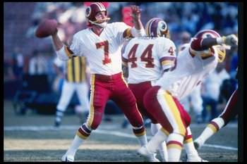 20 Dec 1981:  Washington Redskins quarterback Joe Theismann throws a pass during game against the Los Angeles Rams at Anaheim Stadium in Anaheim, California.  The Redskins won the game 30-7. Mandatory Credit: Allsport  /Allsport
