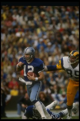Special to the Fort Worth Star Telegram:  File picture:  7 Jan 1979:  Quarterback Roger Staubach of the Dallas Cowboys looks to pass the ball during a playoff game against the Los Angeles Rams at Anaheim Stadium in Anaheim, California.  The Cowboys won