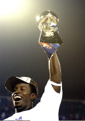 Super Bowl XXXIX Most Valuable Player Deion Branch holds up The Vince Lombardi Trophy  The New England Patriots defeated The Philadelphia Eagles in Super Bowl XXXIX at Alltel Staduim in Jacksonville, Florida.  (Photo by Al Messerschmidt/Getty Images)