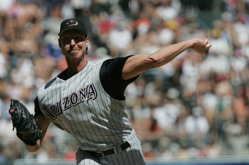SAN FRANCISCO - SEPTEMBER 5:  Pitcher Randy Johnson #51 the Arizona Diamondbacks delivers against the San Francisco Giants during the game at SBC Park on September 5, 2004 in San Francisco, California. The Giants won 4-1.  (Photo by Stephen Dunn/Getty Ima