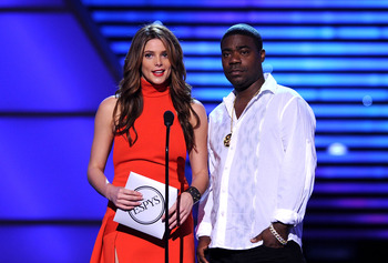 LOS ANGELES, CA - JULY 14:  Actress Ashley Greene and comedian Tracy Morgan present onstage during the 2010 ESPY Awards at Nokia Theatre L.A. Live on July 14, 2010 in Los Angeles, California.  (Photo by Kevin Winter/Getty Images)