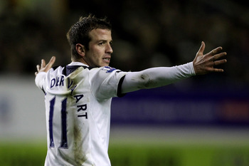 LIVERPOOL, ENGLAND - JANUARY 05:  Rafael Van der Vaart of Tottenham Hotspur reacts  during the Barclays Premier League match between Everton and Tottenham Hotspur at Goodison Park on January 5, 2011 in Liverpool, England.  (Photo by Alex Livesey/Getty Ima