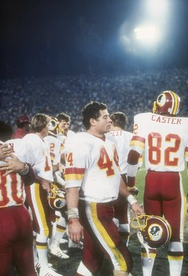 30 Jan 1983:  Running back John Riggins #44 of the Washington Redskins waits on the sidelines during the Super Bowl XVII against the Miami Dolphins at the Rose Bowl in Pasadena, California.  The Redskins won the game, 27-17. Mandatory Credit: Allsport  /A