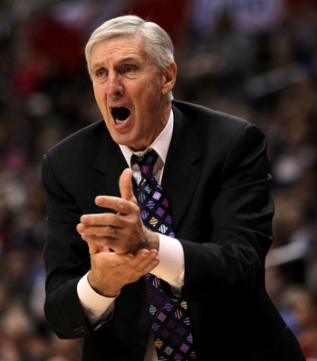 LOS ANGELES, CA - DECEMBER 29:  Head coach Jerry Sloan of the Utah Jazz complains to a referee in the game with the Los Angeles Clippers at Staples Center on December 29, 2010 in Los Angeles, California.   The Jazz won 103-85.  NOTE TO USER: User expressl