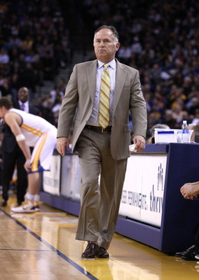 OAKLAND, CA - JANUARY 19: Head coach Jim O'Brien of the Indiana Pacers walks the side line during their game against the Golden State Warriors at Oracle Arena on January 19, 2011 in Oakland, California.  NOTE TO USER: User expressly acknowledges and agree