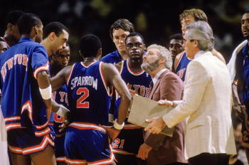 NEW YORK - 1986:  Head coach Hubie Brown of the New York Knicks looks at the scoreboard during an NBA game against the Los Angeles Lakers at the Great Western Forum in Los Angeles, California in 1986.  (Photo by: Rick Stewart/Getty Images)