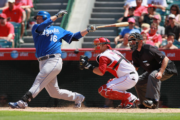 ANAHEIM, CA - AUGUST 11:  Billy Butler #16 of the Kansas City Royals hits a base hit against the Los Angeles Angels of Anaheim in the eighth inning at Angel Stadium on August 11, 2010 in Anaheim, California. The Angels defeated the Royals 2-1 in ten innin