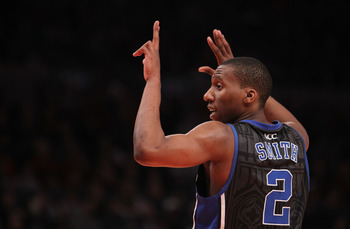 NEW YORK, NY - JANUARY 30: Nolan Smith #2 of the Duke Blue Devils gestures against the St. John's Blue Devils at Madison Square Garden on January 30, 2011 in New York City.  (Photo by Nick Laham/Getty Images)