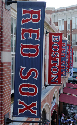 BOSTON - AUGUST 01:  Banners line the outside of the stadium as the Boston Red Sox take on the Detroit Tigers on August 1, 2010 at Fenway Park in Boston, Massachusetts. The Red Sox defeated the Tigers 4-3.  (Photo by Elsa/Getty Images)