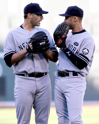 BOSTON - OCTOBER 2:  Andy Pettitte #46 of the New York Yankees has words with teammate Derek Jeter #2 after a run scored in the first inning during the first game of a doubleheader against the Boston Red Sox at Fenway Park October 2, 2010 in Boston, Massa