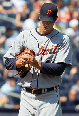 NEW YORK - AUGUST 19:  Rick Porcello #48 of the Detroit Tigers looks on during the sixth inning against the New York Yankees on August 19, 2010 at Yankee Stadium in the Bronx borough of New York City.  (Photo by Jim McIsaac/Getty Images)