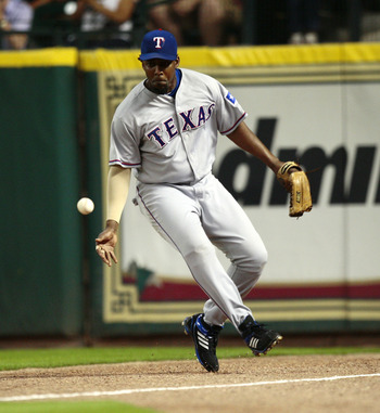 HOUSTON - JUNE 18:  Right fielder Vladimir Guerrero #27 of the Texas Rangers fields a ball hit by Hunter Pence of the Houston Astros during the fourth inning at Minute Maid Park on June 18, 2010 in Houston, Texas.  (Photo by Bob Levey/Getty Images)