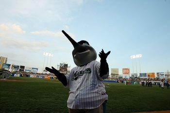 SAN JUAN, PUERTO RICO - JUNE 28:  The Mascot of the Florida Marlins  interacts during the game against The New York Mets at Hiram Bithorn Stadium on June 28, 2010 in San Juan, Puerto Rico.  (Photo by Al Bello/Getty Images)