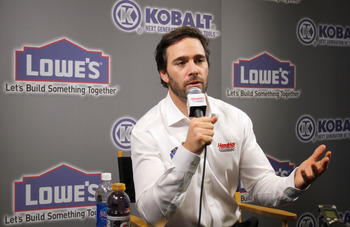 CONCORD, NC - JANUARY 26:  Jimmie Johnson, driver of the #48 Lowe's Chevrolet, speaks to the media during the NASCAR Sprint Media Tour hosted by Charlotte Motor Speedway, held at Hendrick Motorsports on January 26, 2011 in Concord, North Carolina.  (Photo