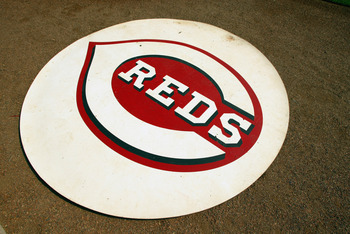 CINCINNATI, OH - SEPTEMBER 11:  Detailed shot of the Cincinnati Reds logo during the game against the Pittsburgh Pirates at Great American Ball Park on September 11, 2003  in Cincinnati, Ohio.  The Reds defeated the Pirates 3-2. (Photo by Andy Lyons/Getty