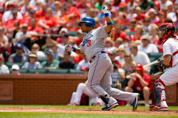 ST. LOUIS - JULY 18: Ronnie Belliard #3 of the Los Angeles Dodgers in action against the St. Louis Cardinals at Busch Stadium on July 18, 2010 in St. Louis, Missouri.  (Photo by Dilip Vishwanat/Getty Images)