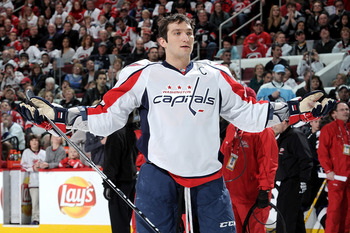 RALEIGH, NC - JANUARY 29:  Alexander Ovechkin #8 of the Washington Capitals reacts during the hardest shot part of the Honda NHL SuperSkills competition part of 2011 NHL All-Star Weekend at the RBC Center on January 29, 2011 in Raleigh, North Carolina.  (