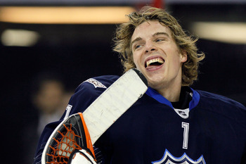 RALEIGH, NC - JANUARY 30:  Team Lidstrom player Jonas Hiller #1 of the Anaheim Ducks reacts as they play against Team Staal in the 58th NHL All-Star Game at RBC Center on January 30, 2011 in Raleigh, North Carolina.  (Photo by Kevin C. Cox/Getty Images)