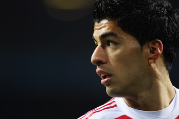 AMSTERDAM, NETHERLANDS - OCTOBER 19:  Luis Suarez of AFC Ajax looks on during the UEFA Champions League Group G match between AFC Ajax and AJ Auxerre at the Amsterdam ArenA on October 19, 2010 in Amsterdam, Netherlands.  (Photo by Bryn Lennon/Getty Images