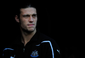 SUNDERLAND, ENGLAND - JANUARY 16:  Newcastle player Andy Carroll looks on from the tunnel before the Barclays Premier League match between Sunderland and Newcastle United at Stadium of Light on January 16, 2011 in Sunderland, England.  (Photo by Stu Forst