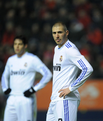 PAMPLONA, SPAIN - JANUARY 30:  Karim Benzema of Real Madrid reacts during the La Liga match between CA Osasuna and Real Madrid at Estadio Reyno de Navarra on January 30, 2011 in Pamplona, Spain.  (Photo by Denis Doyle/Getty Images)