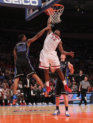 NEW YORK, NY - JANUARY 30: Justin Brownlee #32 of the St. John's Red Storm goes up for the dunk against the Duke Blue Devils  at Madison Square Garden on January 30, 2011 in New York City.  (Photo by Nick Laham/Getty Images)