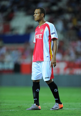 SEVILLE, SPAIN - SEPTEMBER 16:  Luis Fabiano of Sevilla looks on during the UEFA Europa League group J match between Sevilla and Paris Saint Germain at the Estadio Ramon Sanchez Pizjuan on September 16, 2010 in Seville, Spain. Paris Saint Germain won the