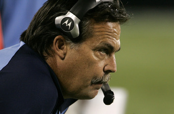 CHARLOTTE, NC - AUGUST 28:  Jeff Fisher of the Tennessee Titans watches  his team during their preseason game against the Carolina Panthers at Bank of America Stadium on August 28, 2010 in Charlotte, North Carolina. (Photo by Mary Ann Chastain/Getty Image